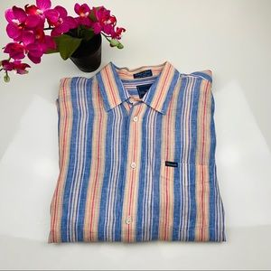 Faconnable 100% Linen Dress Shirt size Large